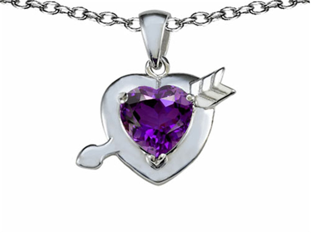 Star K Heart with Arrow Love Pendant Necklace with Genuine Amethyst Sterling Silver
