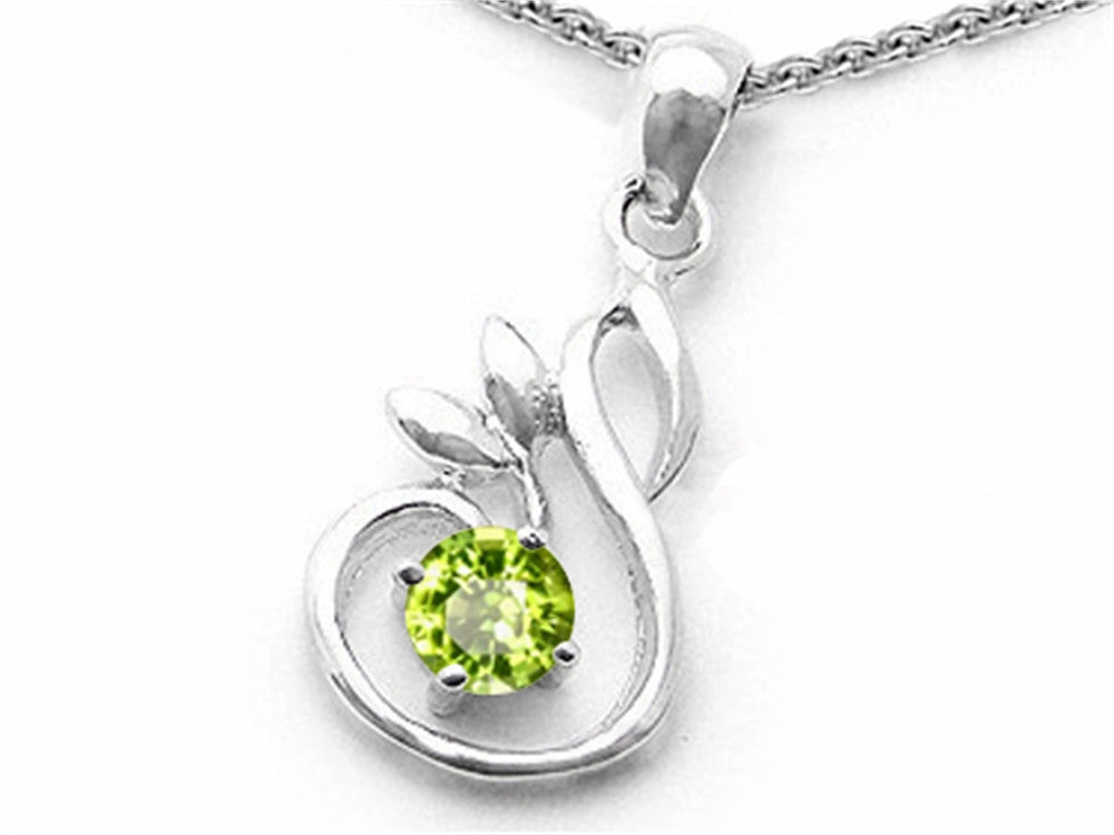 Star K Round Simulated Peridot Swan Pendant Necklace Sterling Silver
