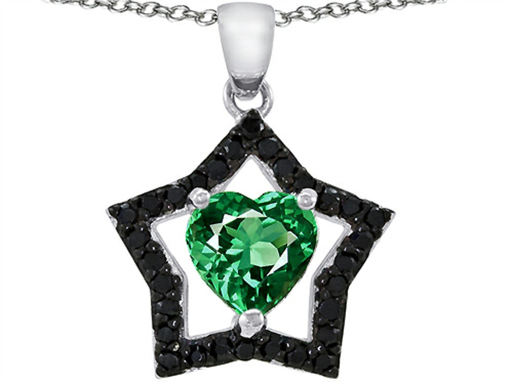 Star K Heart-Shape Simulated Emerald Black Star Pendant Necklace Sterling Silver