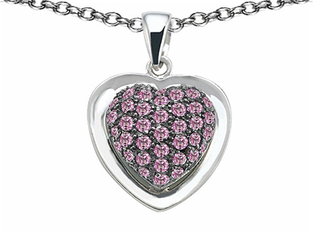 Star K Heart-Shape Love Pendant Necklace with Created Pink Sapphire Sterling Silver