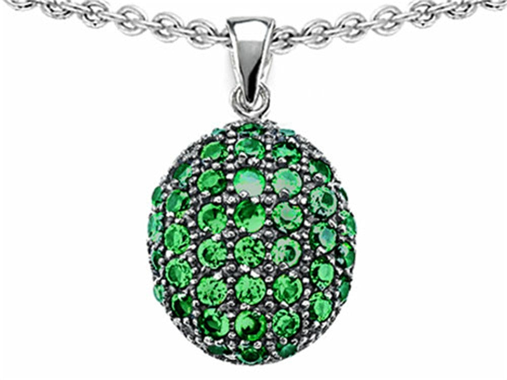 Star K Oval Puffed Pendant Necklace with Simulated Emerald Sterling Silver