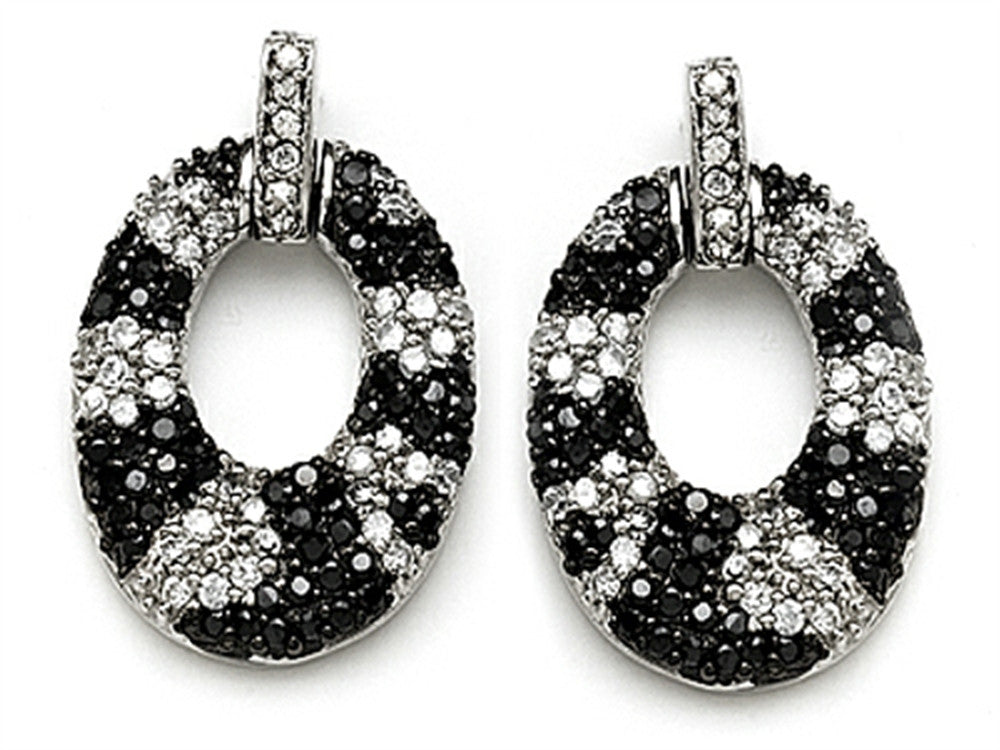 Star K Round Black and White Cubic Zirconia Oval Shape Earrings Sterling Silver