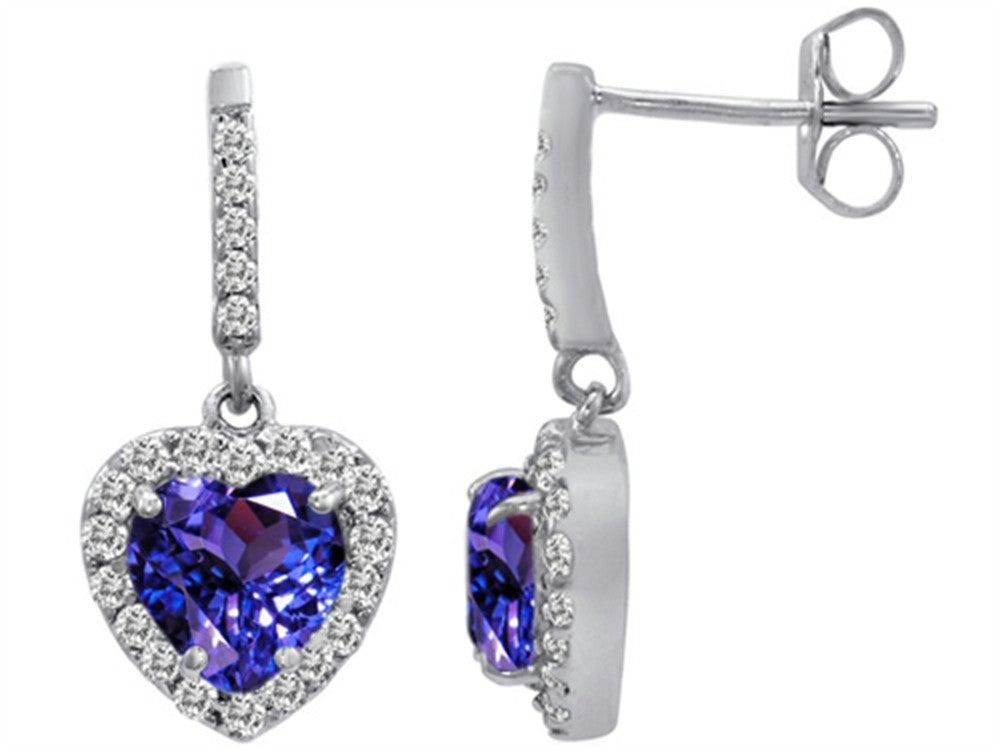 Star K 6mm Heart-Shape Simulated Tanzanite Hanging Halo Heart Earrings Sterling Silver