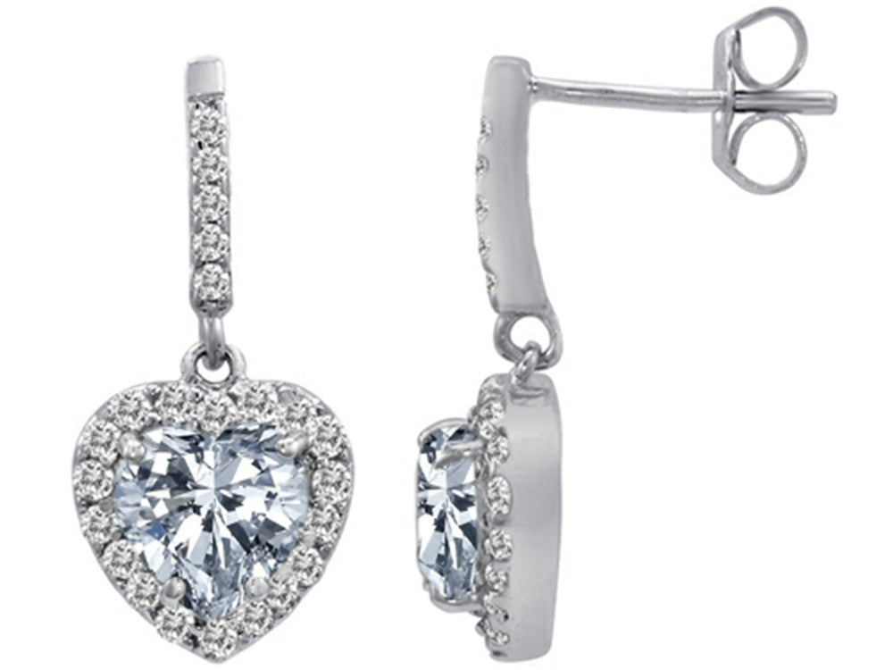 Star K 6mm Heart-Shape Genuine White Topaz Hanging Halo Heart Earrings Sterling Silver