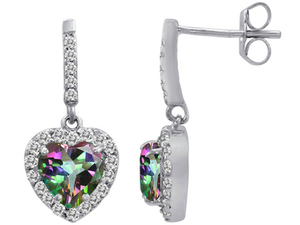 Star K 6mm Heart-Shape Rainbow Mystic Topaz Dangling Heart Earrings Sterling Silver