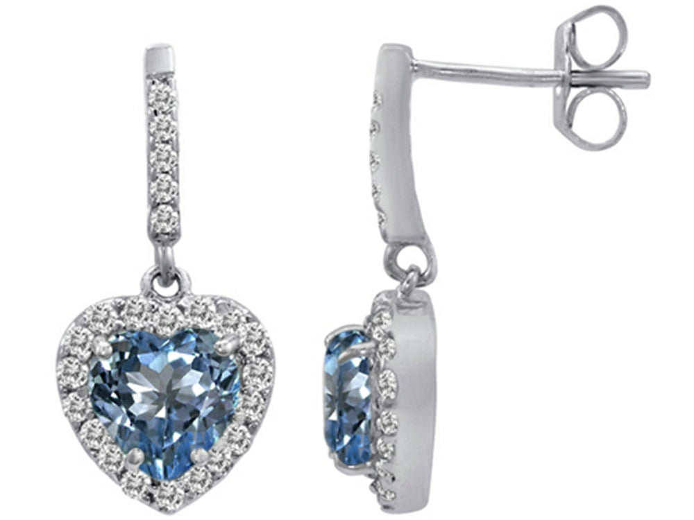 Star K 6mm Heart-Shape Simulated Aquamarine Hanging Halo Heart Earrings Sterling Silver