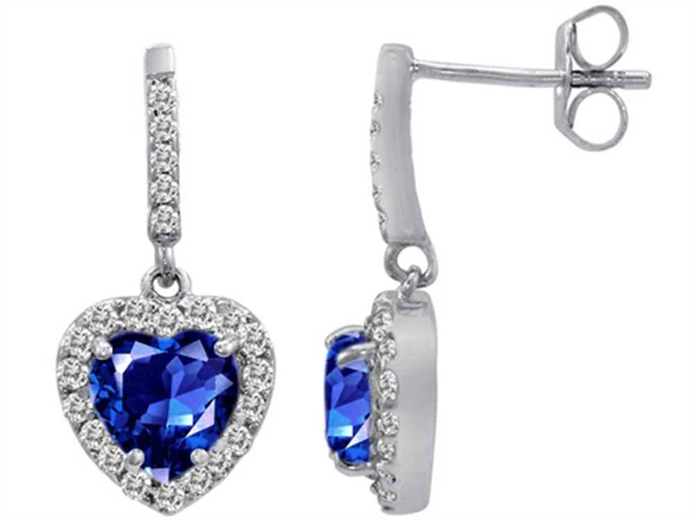 Star K 6mm Heart-Shape Created Sapphire Hanging Halo Heart Earrings Sterling Silver