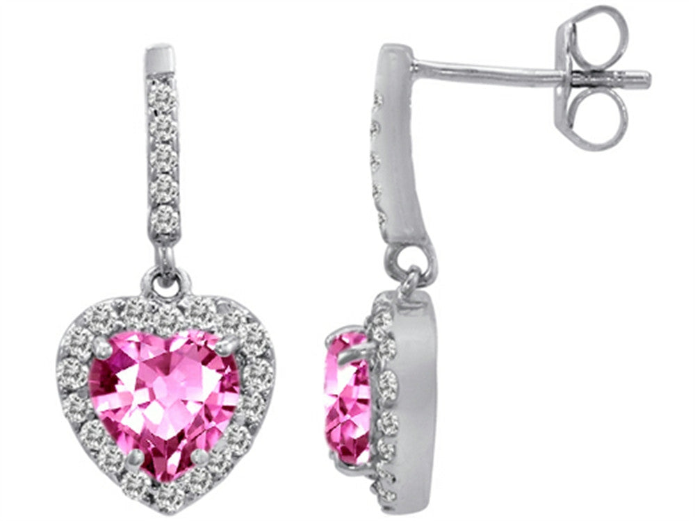 Star K 6mm Heart-Shape Created Pink Sapphire Hanging Halo Heart Earrings Sterling Silver