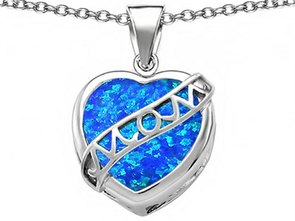 Star K Love Mom Mother Pendant Necklace with Heart-Shape Blue Created Opal Sterling Silver