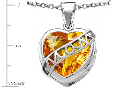 Star K Love Mom Mother Pendant Necklace with 15mm Heart-Shape Simulated Citrine Sterling Silver