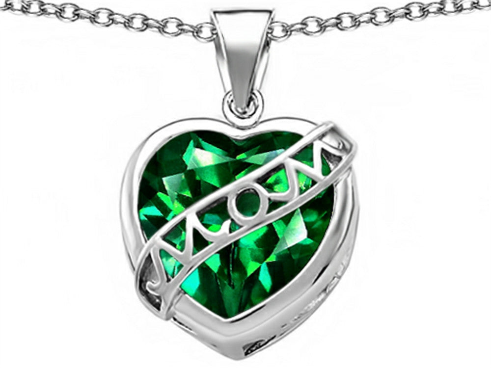 Star K Love Mom Mother Pendant Necklace with 15mm Heart-Shape Simulated Emerald Sterling Silver