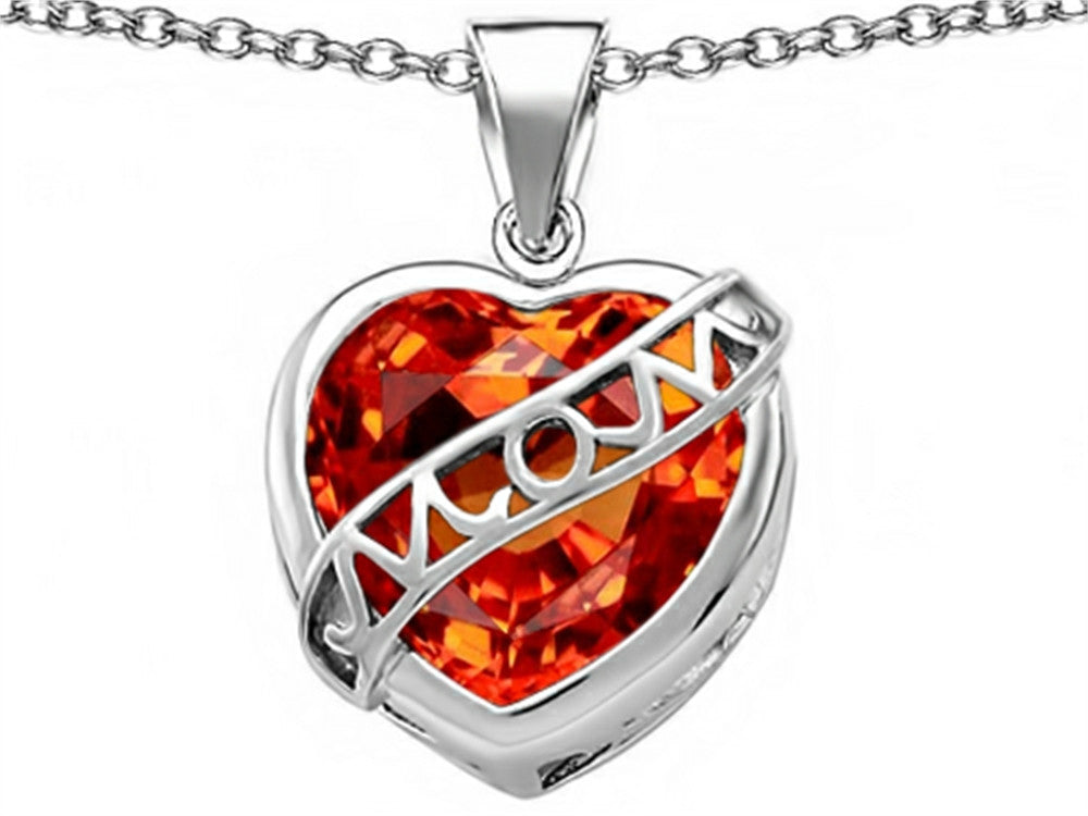 Star K Love Mom Mother Pendant Necklace with 15mm Heart-Shape Simulated Mexican Orange Fire Opal Sterling Silver