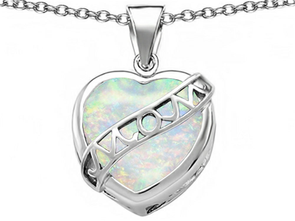 Star K Love Mom Mother Pendant Necklace with 15mm Heart-Shape Simulated Opal Sterling Silver