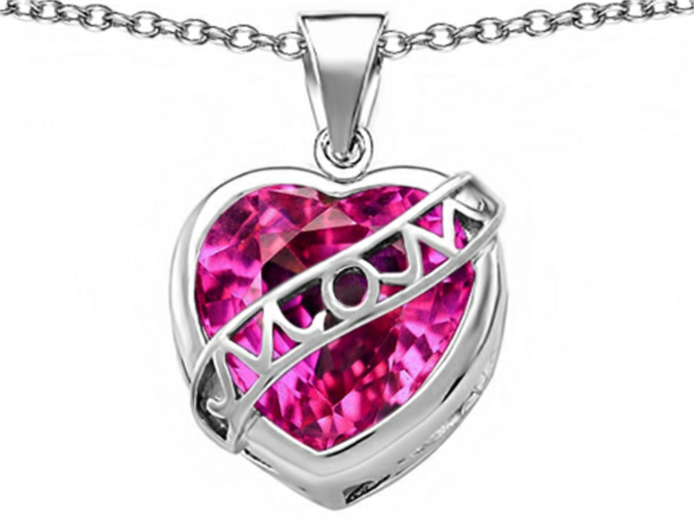 Star K Love Mom Mother Pendant Necklace with 15mm Heart-Shape Created Pink Sapphire Sterling Silver
