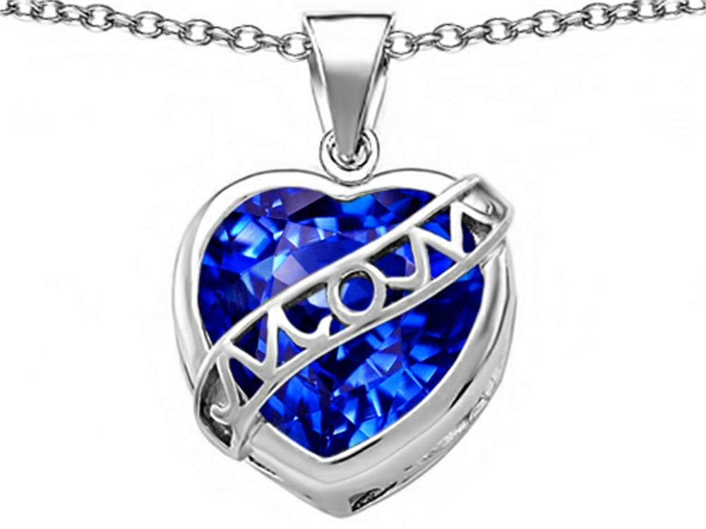 Star K Love Mom Mother Pendant Necklace with 15mm Heart-Shape Simulated Sapphire Sterling Silver