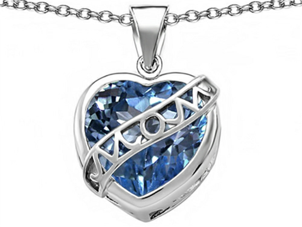 Star K Love Mom Mother Pendant Necklace with 15mm Heart-Shape Simulated Aquamarine Sterling Silver