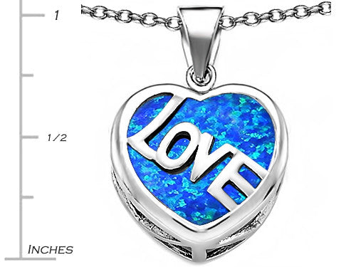 Star K Love Heart Pendant Necklace with 15mm Heart-Shape Blue Created Opal Sterling Silver