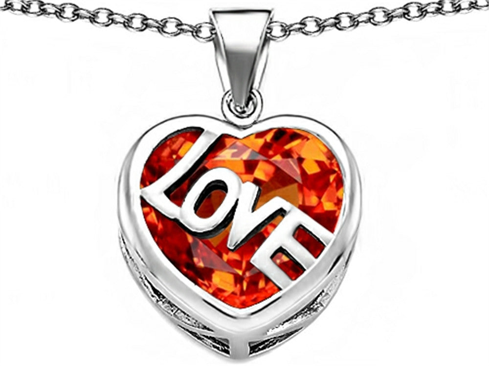 Star K Love Heart Pendant Necklace with 15mm Heart-Shape Simulated Mexican Orange Fire Opal Sterling Silver