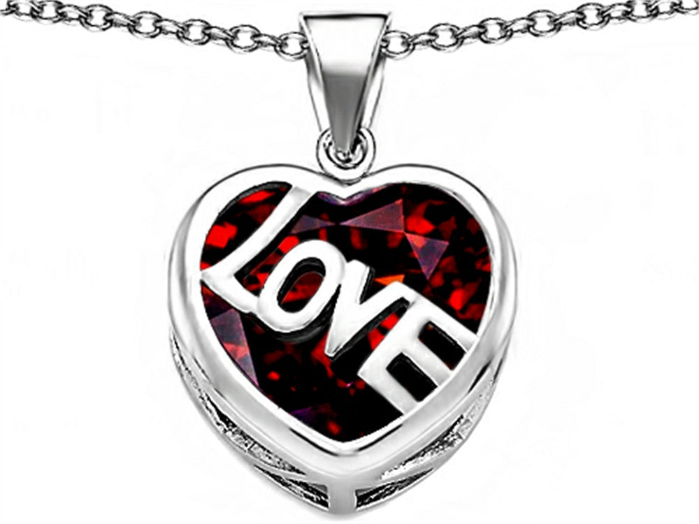 Star K Love Heart Pendant Necklace with 15mm Heart-Shape Simulated Garnet Sterling Silver