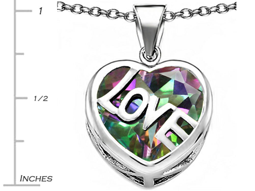 Star K Love Heart Pendant Necklace with 15mm Heart-Shape Rainbow Mystic Topaz Sterling Silver