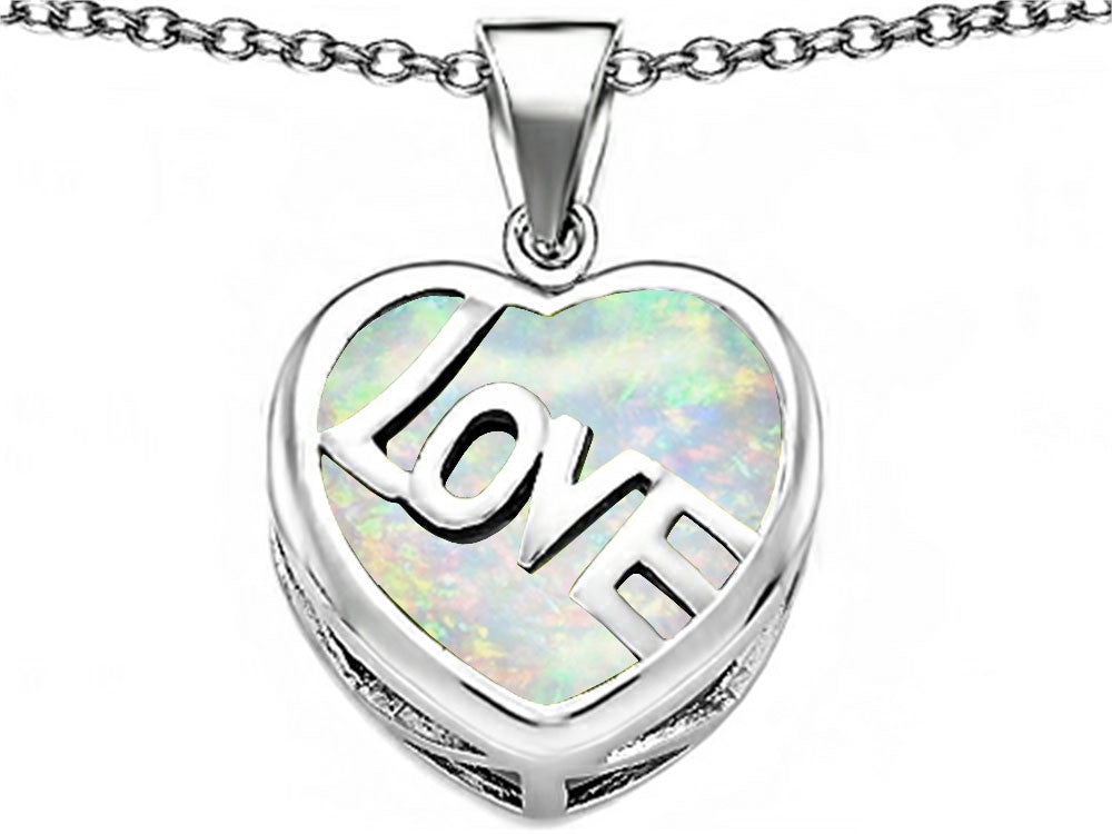 Star K Love Heart Pendant Necklace with 15mm Heart-Shape Created Opal Sterling Silver