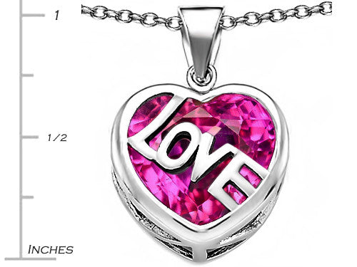 Star K Love Heart Pendant Necklace with 15mm Heart-Shape Created Pink Sapphire Sterling Silver