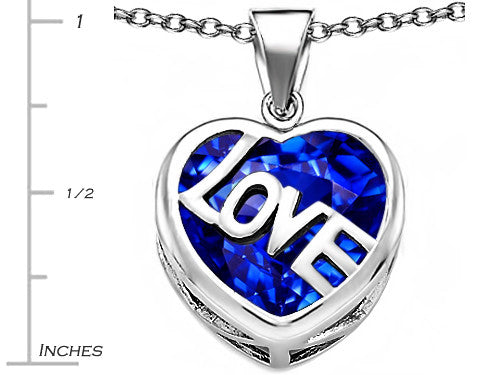 Star K Love Heart Pendant Necklace with 15mm Heart-Shape Created Sapphire Sterling Silver