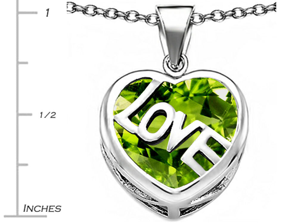 Star K Love Heart Pendant Necklace with 15mm Heart-Shape Simulated Peridot Sterling Silver