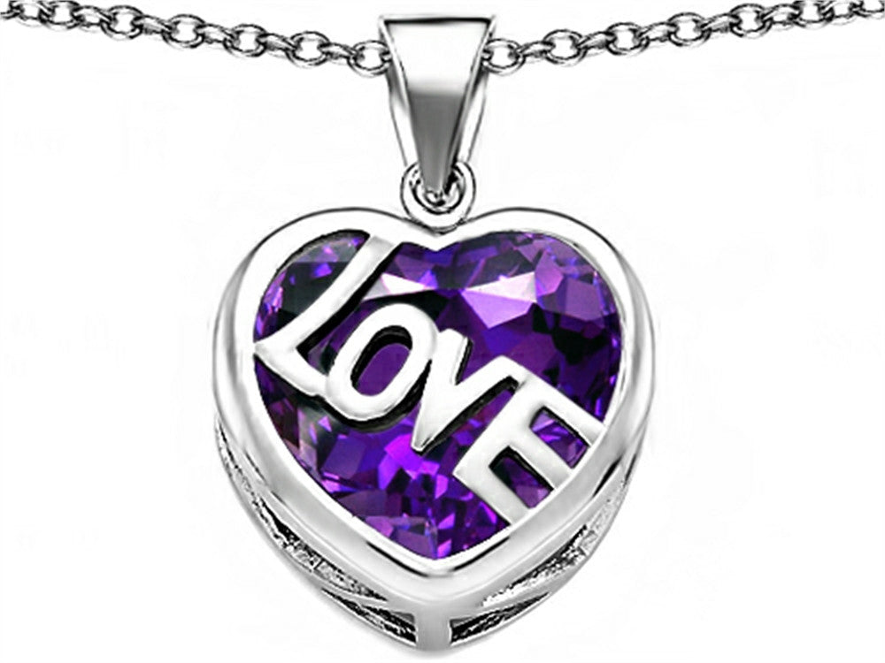 Star K Love Heart Pendant Necklace with 15mm Heart-Shape Simulated Amethyst Sterling Silver