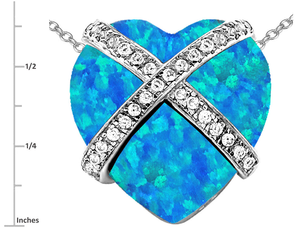 Star K Prisoner of Love Heart Pendant Necklace Heart-Shape Blue Created Opal and Cubic Zirconia Sterling Silver