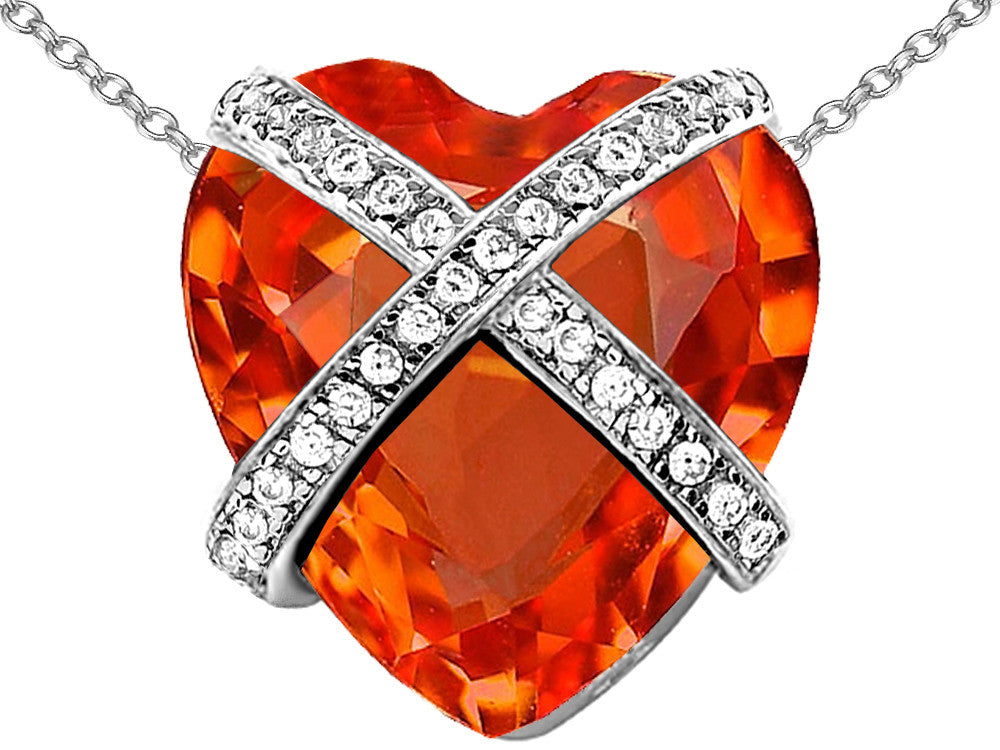 Star K Prisoner of Love Heart Pendant Necklace with 15mm Heart-Shape Simulated Mexican Orange Fire Opal Sterling Silver