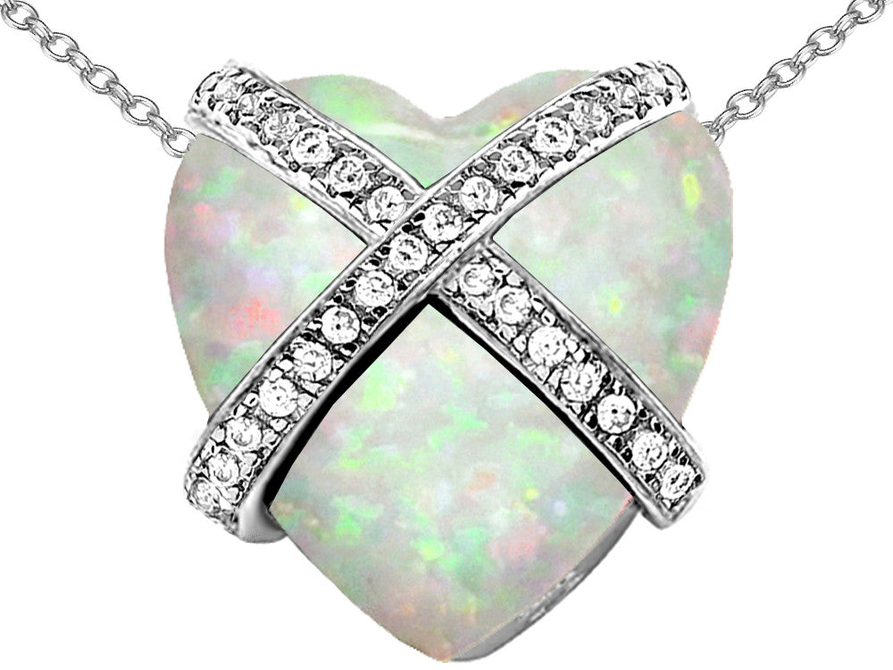 Star K Prisoner of Love Heart Pendant Necklace with Heart-Shape Created Opal Sterling Silver