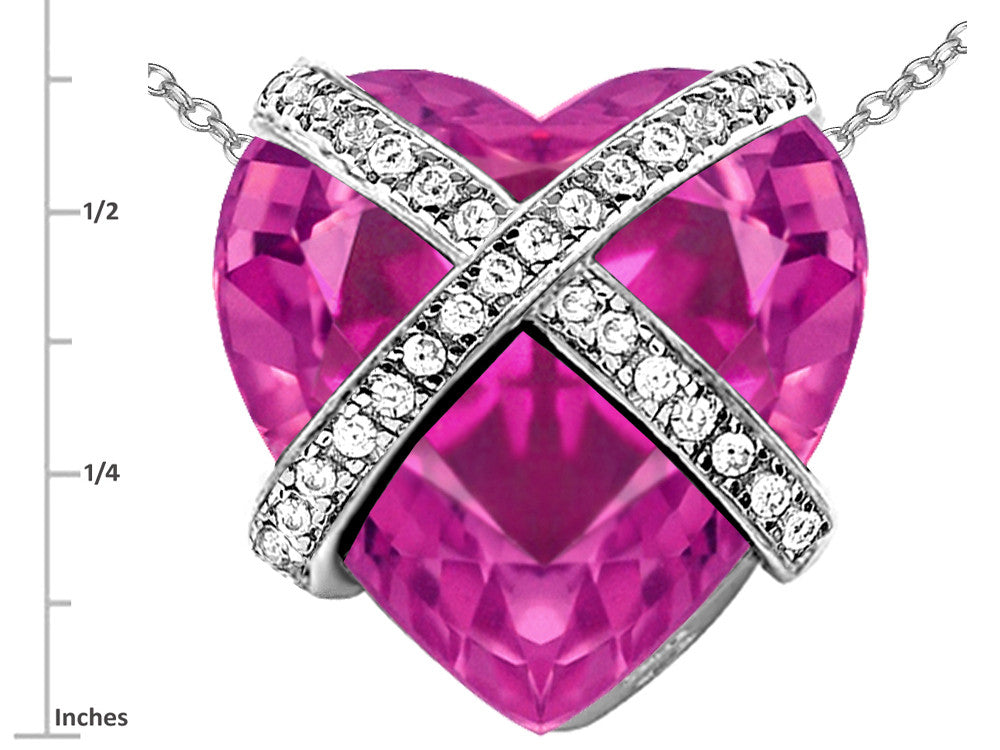 Star K Prisoner of Love Heart Pendant Necklace with 15mm Heart-Shape Created Pink Sapphire Sterling Silver