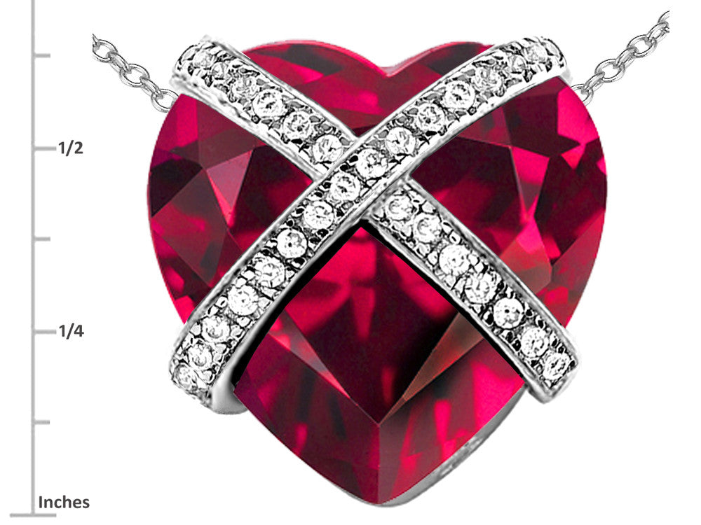 Star K Prisoner of Love Heart Pendant Necklace with 15mm Heart-Shape Created Ruby Sterling Silver