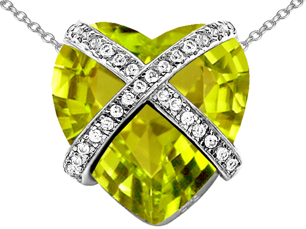 Star K Prisoner of Love Heart Pendant Necklace with 15mm Heart-Shape Simulated Peridot and Cubic Zirconi Sterling Silver