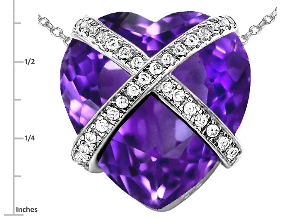 Star K Prisoner of Love Heart Pendant Necklace with 15mm Heart-Shape Simulated Amethyst Sterling Silver