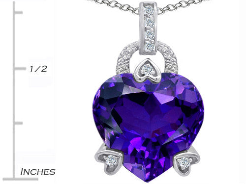Star K Lock Love Heart Pendant Necklace with 13mm Heart-Shape Simulated Amethyst Sterling Silver