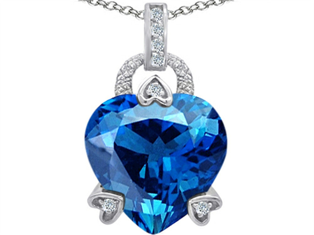 Star K Lock Love Heart Pendant Necklace with 13mm Heart-Shape Simulated Blue-Topaz Sterling Silver