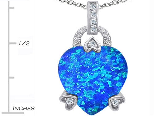 Star K Lock Love Heart Pendant Necklace with 13mm Heart-Shape Blue Created Opal Sterling Silver
