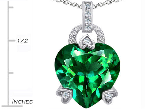 Star K Lock Love Heart Pendant Necklace with 13mm Heart-Shape Simulated Emerald Sterling Silver