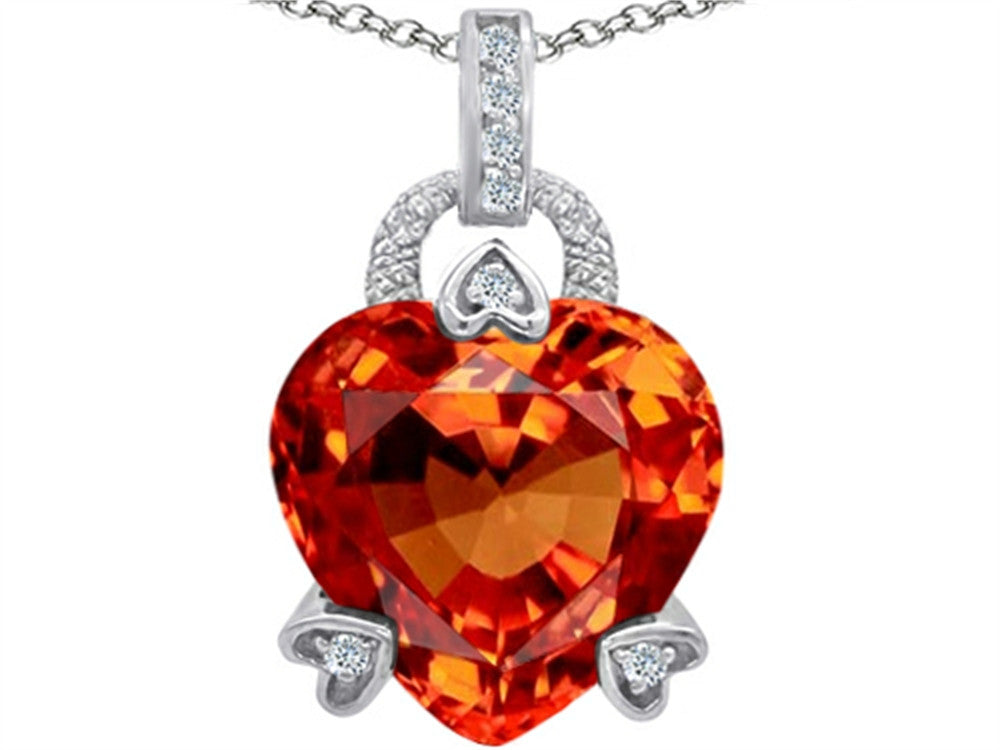 Star K Lock Love Heart Pendant Necklace with 13mm Heart-Shape Simulated Mexican Orange Fire Opal Sterling Silver