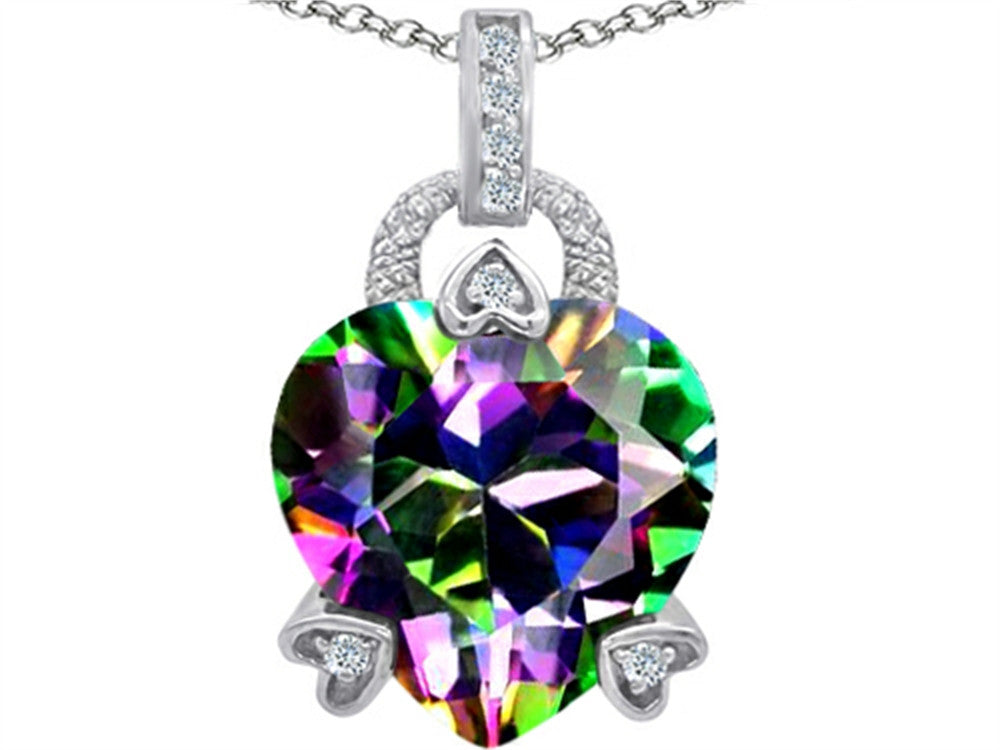 Star K Lock Love Heart Pendant Necklace with 13mm Heart-Shape Rainbow Mystic Topaz Sterling Silver