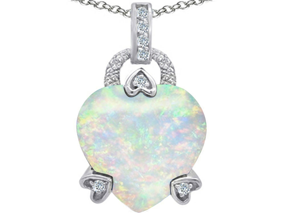 Star K Lock Love Heart Pendant Necklace with 13mm Heart-Shape Created Opal Sterling Silver