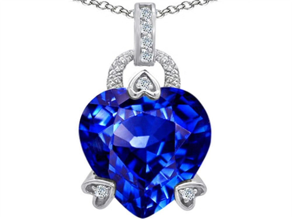 Star K Lock Love Heart Pendant Necklace with 13mm Heart-Shape Simulated Tanzanite Sterling Silver