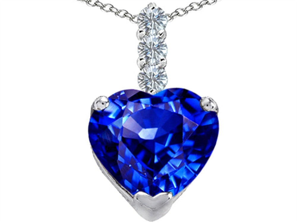 Star K 12mm Heart-Shape Simulated Tanzanite Pendant Necklace Sterling Silver