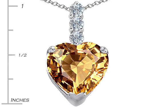 Star K 12mm Heart-Shape Simulated Imperial Yellow Topaz Pendant Necklace Sterling Silver