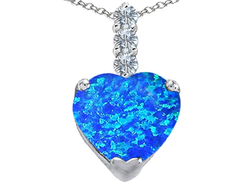 Star K 12mm Heart-Shape Blue Created Opal Pendant Necklace Sterling Silver