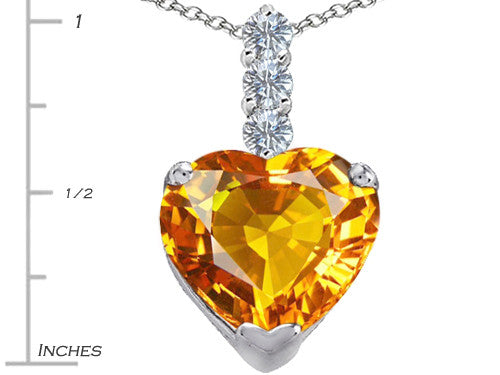 Star K 12mm Heart-Shape Simulated Citrine Pendant Necklace Sterling Silver