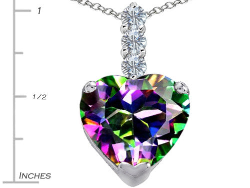 Star K 12mm Heart-Shape Rainbow Mystic Topaz Pendant Necklace Sterling Silver