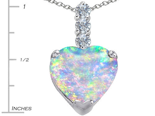 Star K 12mm Heart-Shape Created Opal and Cubic Zirconia Pendant Necklace Sterling Silver
